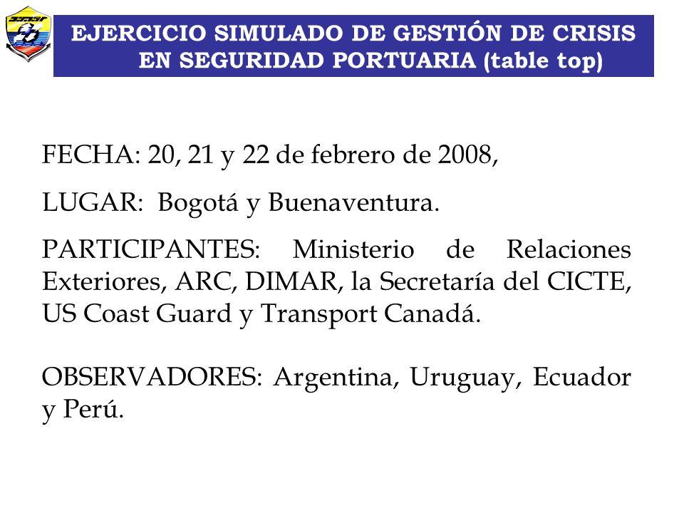 Grupo Asuntos Internacionales FECHA: 20, 21 y 22 de febrero de 2008, LUGAR: Bogotá y Buenaventura.