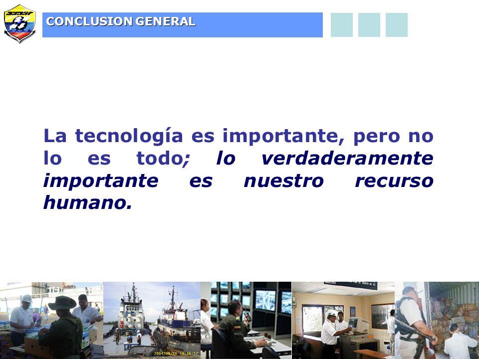 CONCLUSION GENERAL La tecnología es importante, pero no lo es todo; lo verdaderamente importante es nuestro recurso humano.