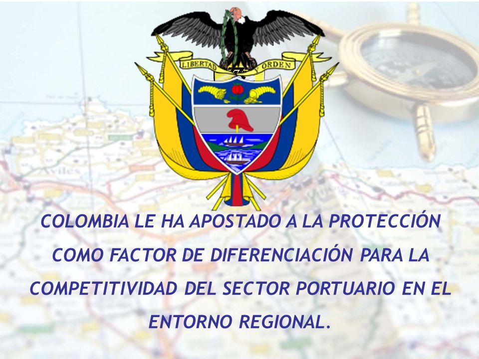 COLOMBIA LE HA APOSTADO A LA PROTECCIÓN COMO FACTOR DE DIFERENCIACIÓN PARA LA COMPETITIVIDAD DEL SECTOR PORTUARIO EN EL ENTORNO REGIONAL.
