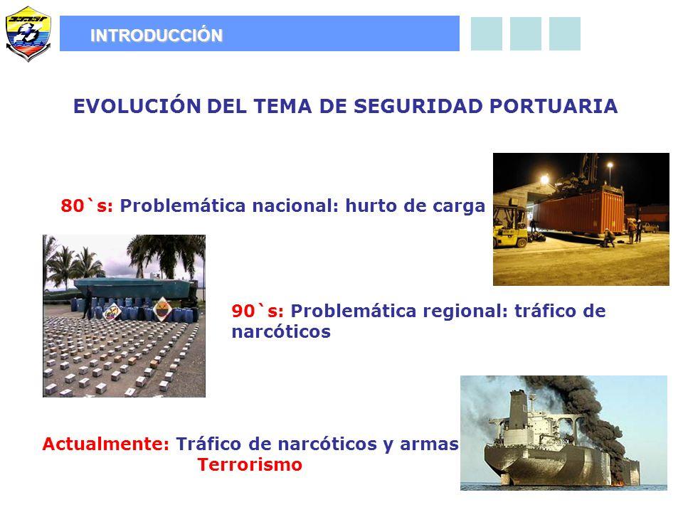 80`s: Problemática nacional: hurto de carga EVOLUCIÓN DEL TEMA DE SEGURIDAD PORTUARIA INTRODUCCIÓN 90`s: Problemática regional: tráfico de narcóticos Actualmente: Tráfico de narcóticos y armas Terrorismo