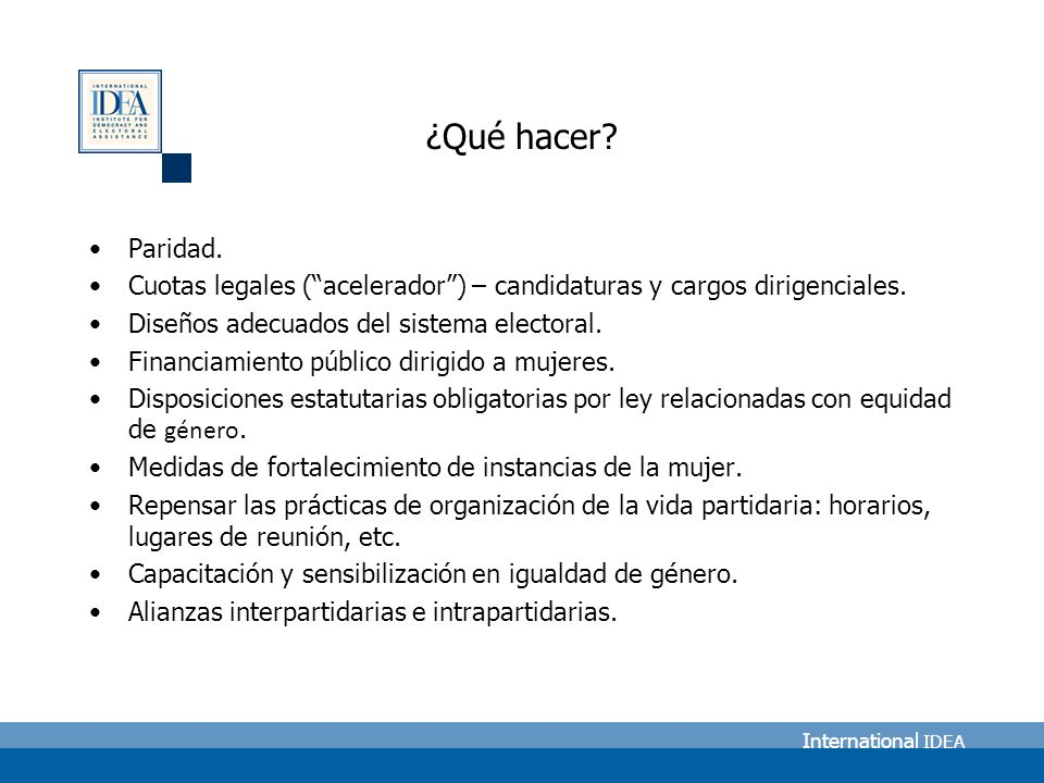 International IDEA ¿Qué hacer. Paridad.