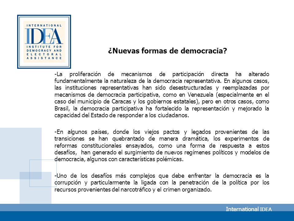 International IDEA ¿Nuevas formas de democracia.