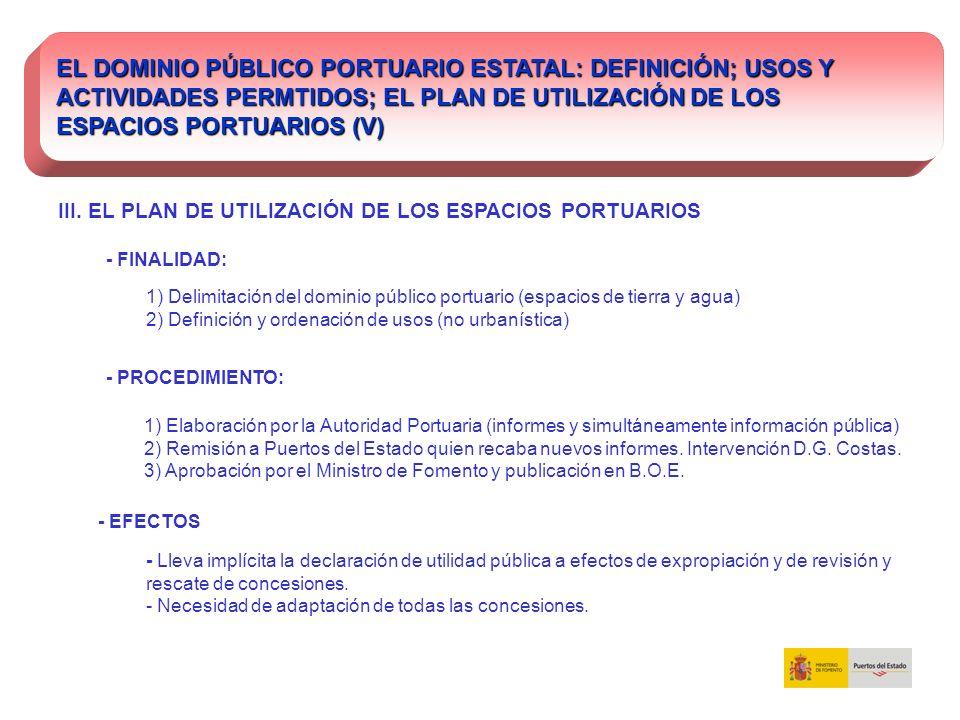 EL DOMINIO PÚBLICO PORTUARIO ESTATAL: DEFINICIÓN; USOS Y ACTIVIDADES PERMTIDOS; EL PLAN DE UTILIZACIÓN DE LOS ESPACIOS PORTUARIOS (V) III. EL PLAN DE