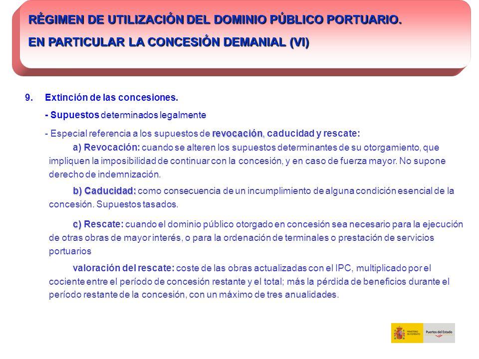 RÉGIMEN DE UTILIZACIÓN DEL DOMINIO PÚBLICO PORTUARIO. EN PARTICULAR LA CONCESIÓN DEMANIAL (VI) 9. Extinción de las concesiones. - Supuestos determinad
