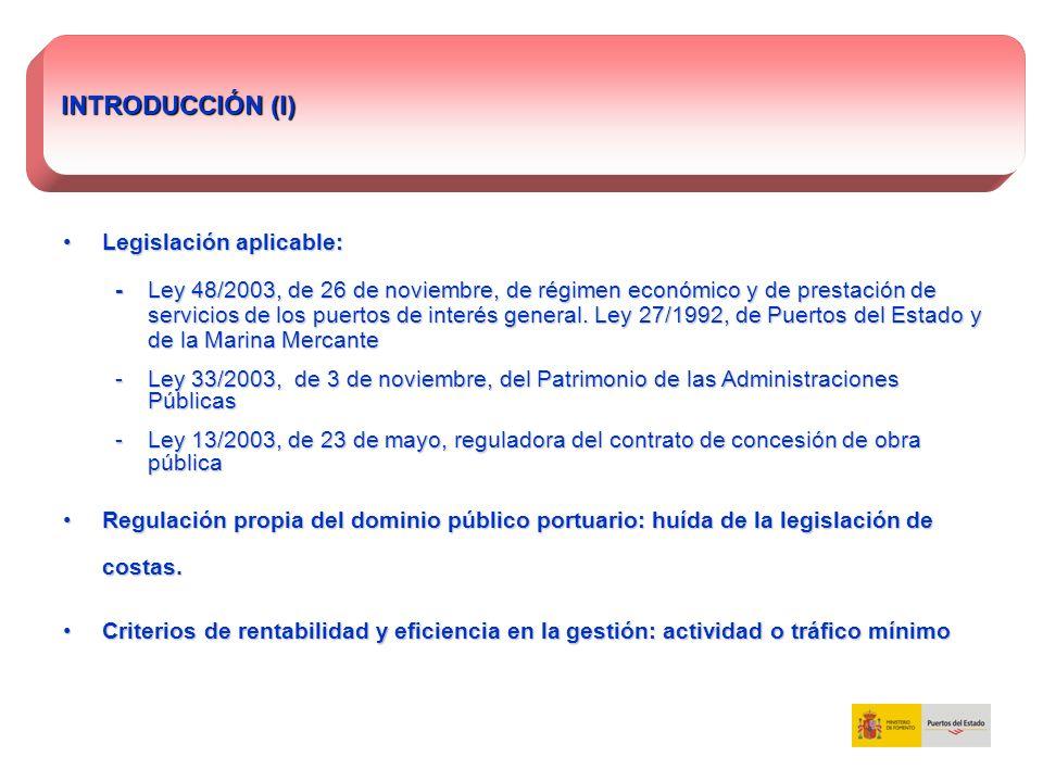 Legislación aplicable:Legislación aplicable: - Ley 48/2003, de 26 de noviembre, de régimen económico y de prestación de servicios de los puertos de in