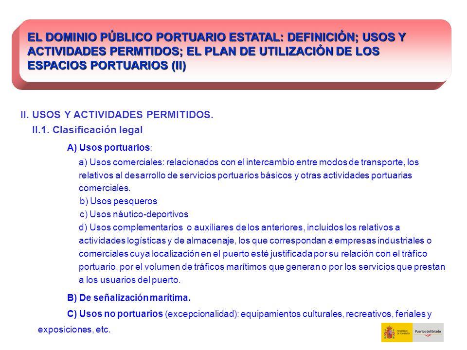 II. USOS Y ACTIVIDADES PERMITIDOS. II.1. Clasificación legal A) Usos portuarios : a) Usos comerciales: relacionados con el intercambio entre modos de