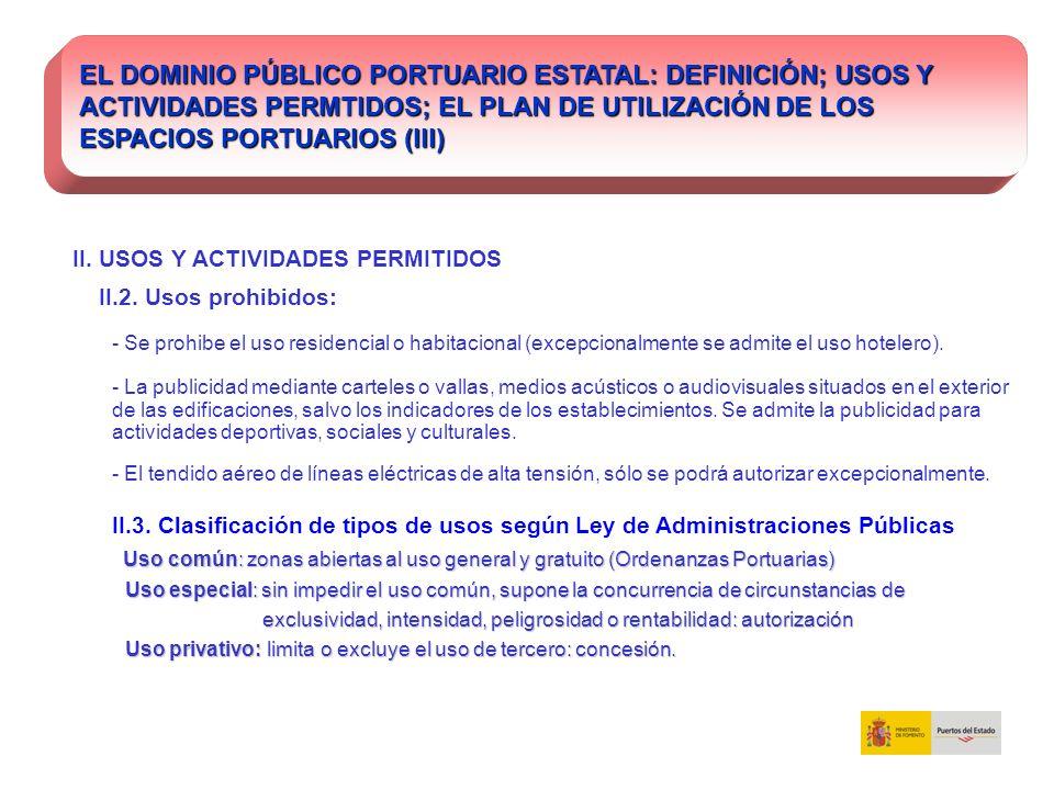 II. USOS Y ACTIVIDADES PERMITIDOS II.2. Usos prohibidos: - Se prohibe el uso residencial o habitacional (excepcionalmente se admite el uso hotelero).