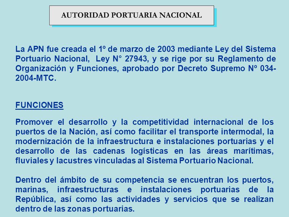 La APN fue creada el 1º de marzo de 2003 mediante Ley del Sistema Portuario Nacional, Ley N° 27943, y se rige por su Reglamento de Organización y Func