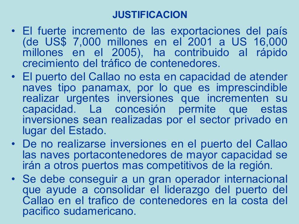 JUSTIFICACION El fuerte incremento de las exportaciones del país (de US$ 7,000 millones en el 2001 a US 16,000 millones en el 2005), ha contribuido al