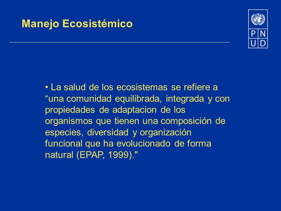 Manejo Ecosistémico La salud de los ecosistemas se refiere a una comunidad equilibrada, integrada y con propiedades de adaptacion de los organismos qu