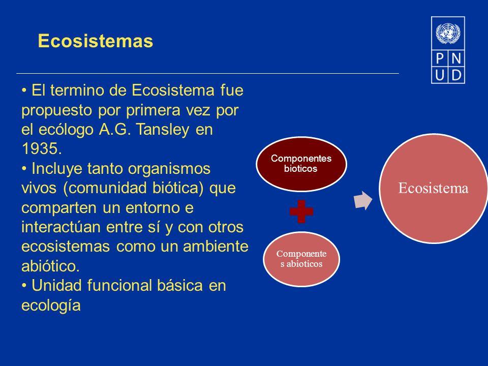 Ecosistemas El termino de Ecosistema fue propuesto por primera vez por el ecólogo A.G. Tansley en 1935. Incluye tanto organismos vivos (comunidad biót