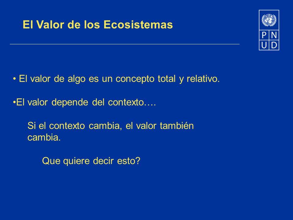 El Valor de los Ecosistemas El valor de algo es un concepto total y relativo. El valor depende del contexto…. Si el contexto cambia, el valor también