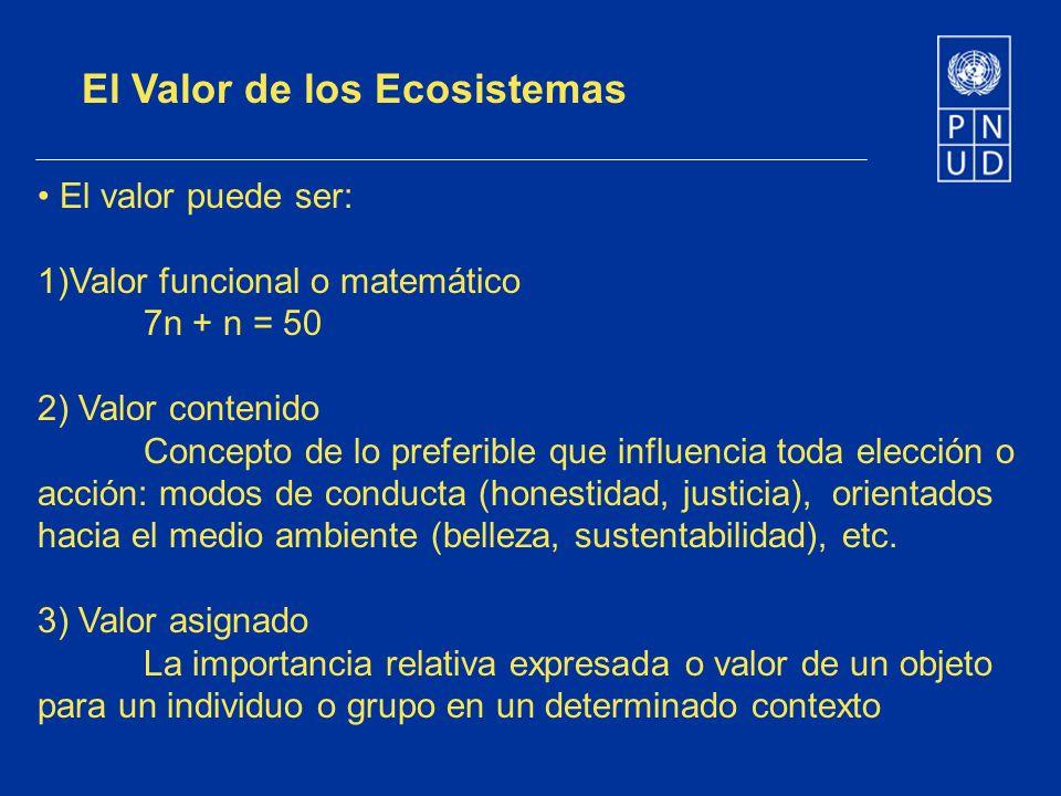El Valor de los Ecosistemas El valor puede ser: 1)Valor funcional o matemático 7n + n = 50 2) Valor contenido Concepto de lo preferible que influencia