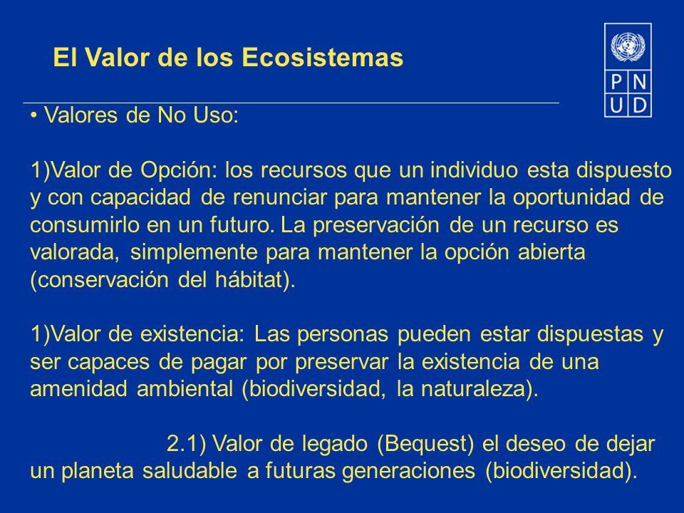 El Valor de los Ecosistemas Valores de No Uso: 1)Valor de Opción: los recursos que un individuo esta dispuesto y con capacidad de renunciar para mante