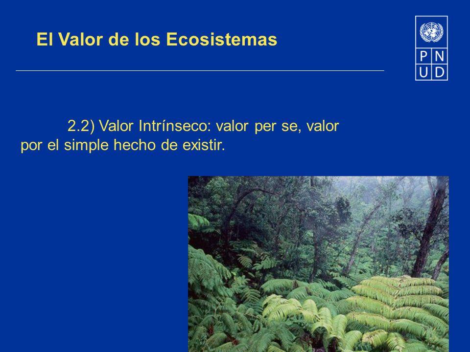 El Valor de los Ecosistemas 2.2) Valor Intrínseco: valor per se, valor por el simple hecho de existir.