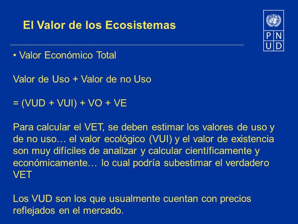 El Valor de los Ecosistemas Valor Económico Total Valor de Uso + Valor de no Uso = (VUD + VUI) + VO + VE Para calcular el VET, se deben estimar los va