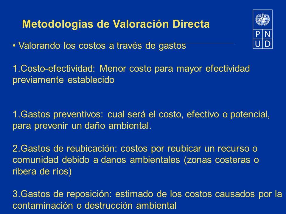 Metodologías de Valoración Directa Valorando los costos a través de gastos 1.Costo-efectividad: Menor costo para mayor efectividad previamente estable