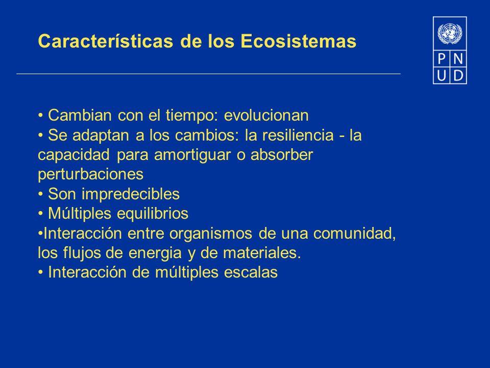 Características de los Ecosistemas Cambian con el tiempo: evolucionan Se adaptan a los cambios: la resiliencia - la capacidad para amortiguar o absorb