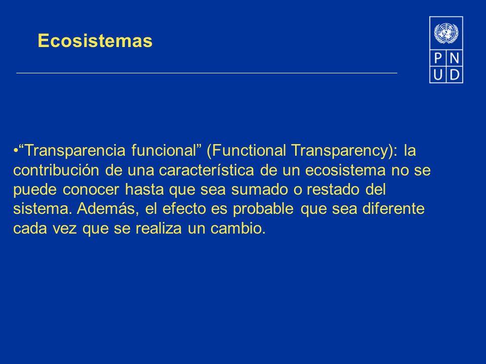 Ecosistemas Transparencia funcional (Functional Transparency): la contribución de una característica de un ecosistema no se puede conocer hasta que se