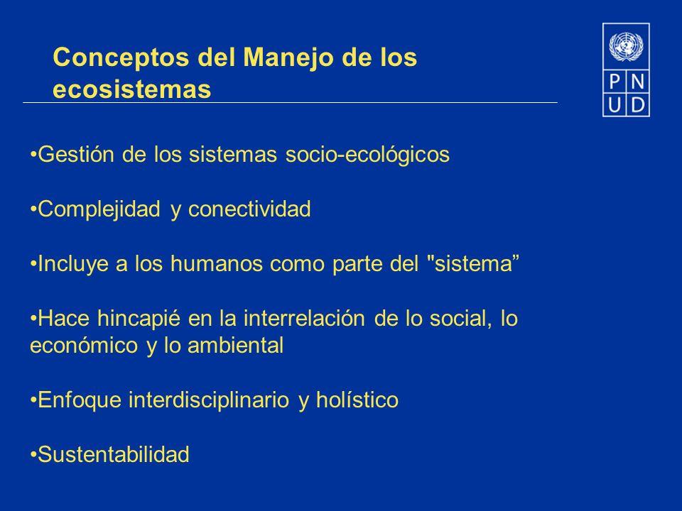 Gestión de los sistemas socio-ecológicos Complejidad y conectividad Incluye a los humanos como parte del