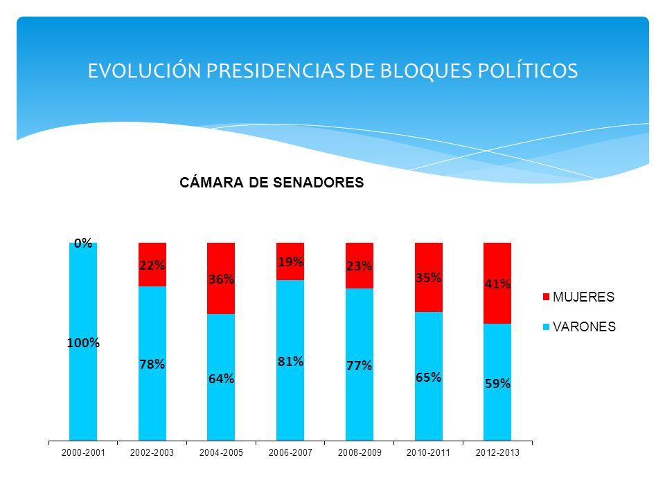 Si se toman en consideración los tres poderes a nivel nacional, se verá que el Poder Legislativo es el ámbito con mayor participación de mujeres (38% para 2010), superando ampliamente al Ejecutivo (21,1%) y al Judicial (15%).