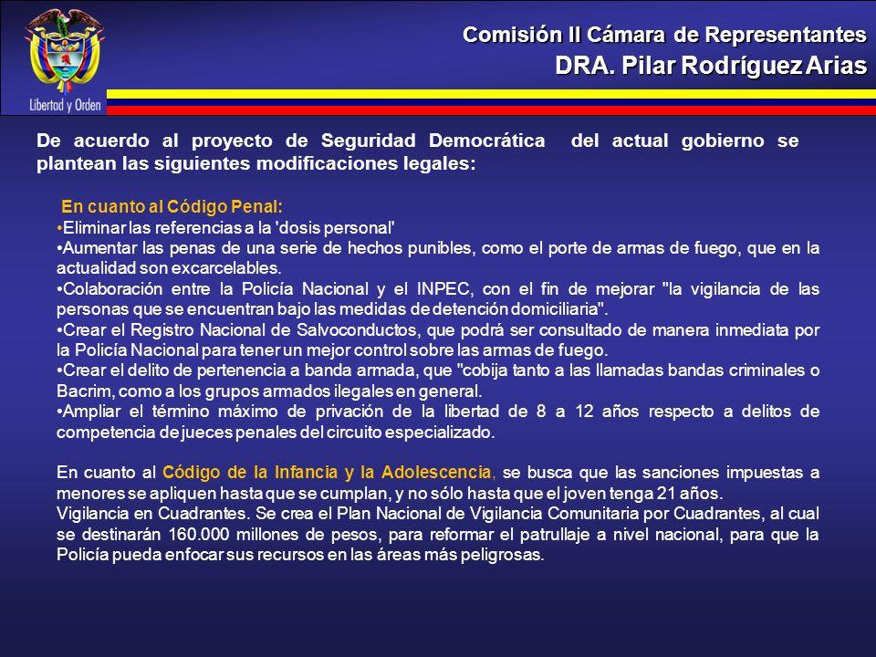 DRA. Pilar Rodríguez Arias Comisión II Cámara de Representantes De acuerdo al proyecto de Seguridad Democrática del actual gobierno se plantean las si