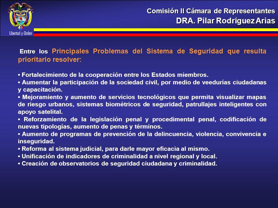 DRA. Pilar Rodríguez Arias Comisión II Cámara de Representantes Entre los Principales Problemas del Sistema de Seguridad que resulta prioritario resol