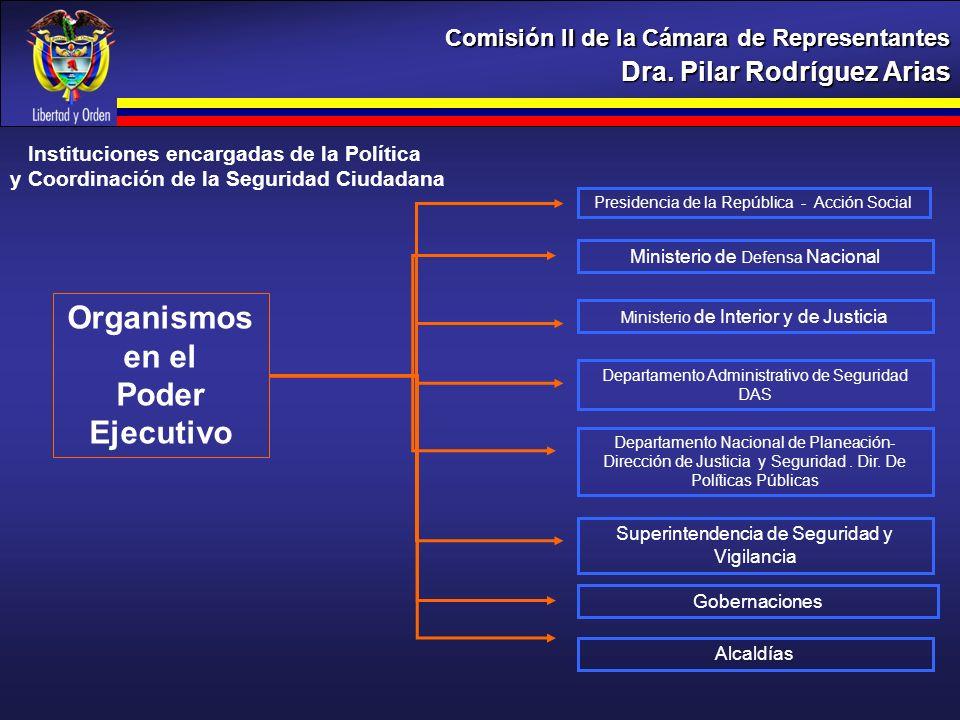 Dra. Pilar Rodríguez Arias Comisión II de la Cámara de Representantes Ministerio de Defensa Nacional Ministerio de Interior y de Justicia Departamento