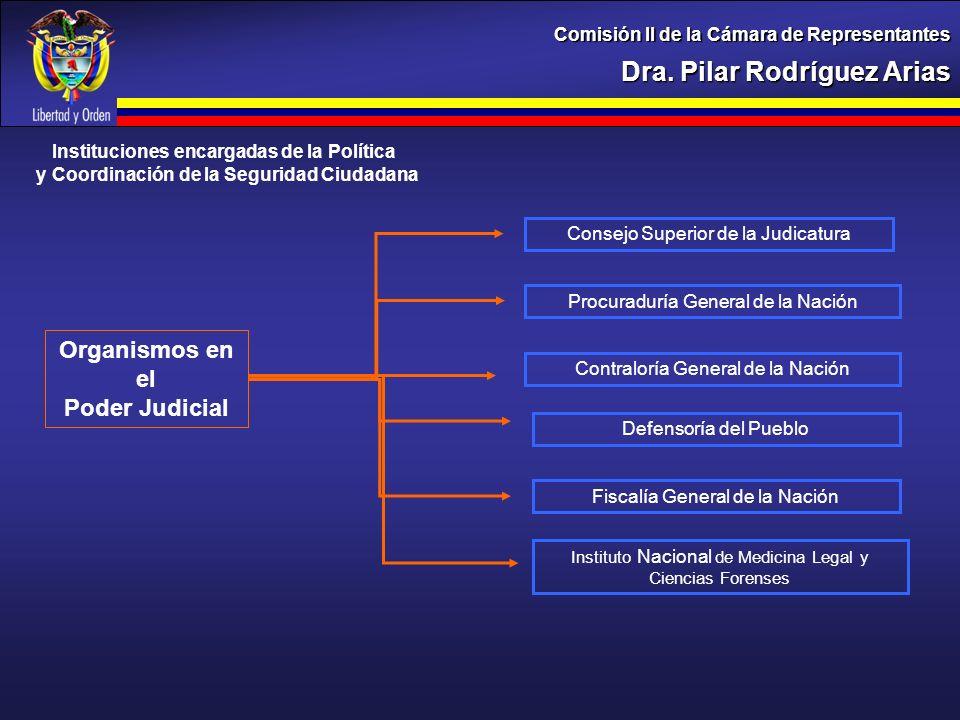 Dra. Pilar Rodríguez Arias Comisión II de la Cámara de Representantes Instituciones encargadas de la Política y Coordinación de la Seguridad Ciudadana