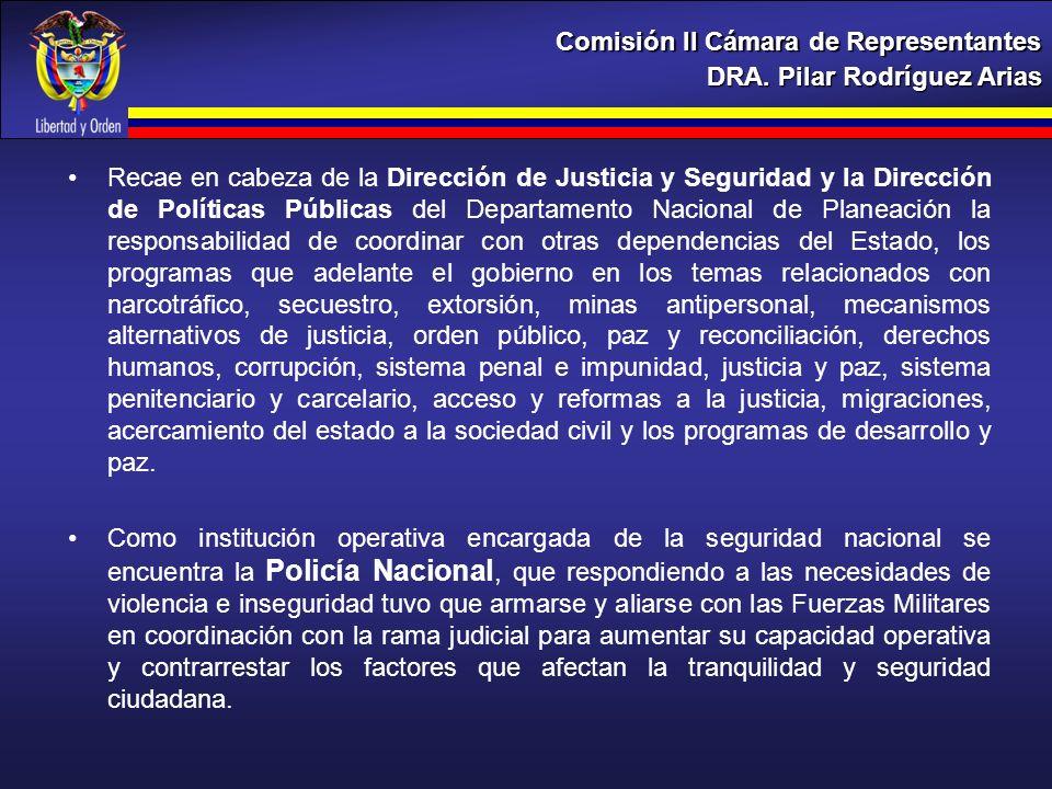 DRA. Pilar Rodríguez Arias Comisión II Cámara de Representantes Recae en cabeza de la Dirección de Justicia y Seguridad y la Dirección de Políticas Pú