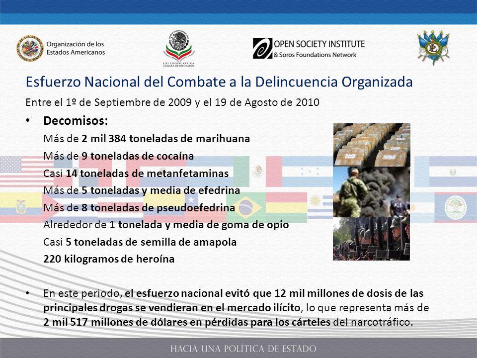 Esfuerzo Nacional del Combate a la Delincuencia Organizada Entre el 1º de Septiembre de 2009 y el 19 de Agosto de 2010 Decomisos: Más de 2 mil 384 ton