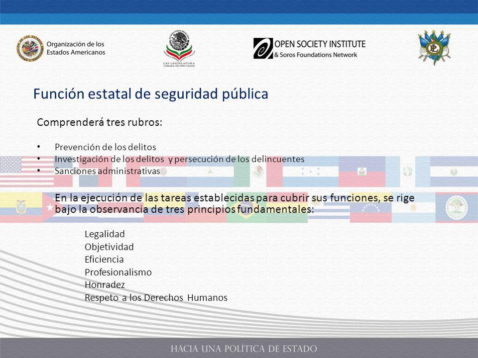 Comprenderá tres rubros: Prevención de los delitos Investigación de los delitos y persecución de los delincuentes Sanciones administrativas En la ejec