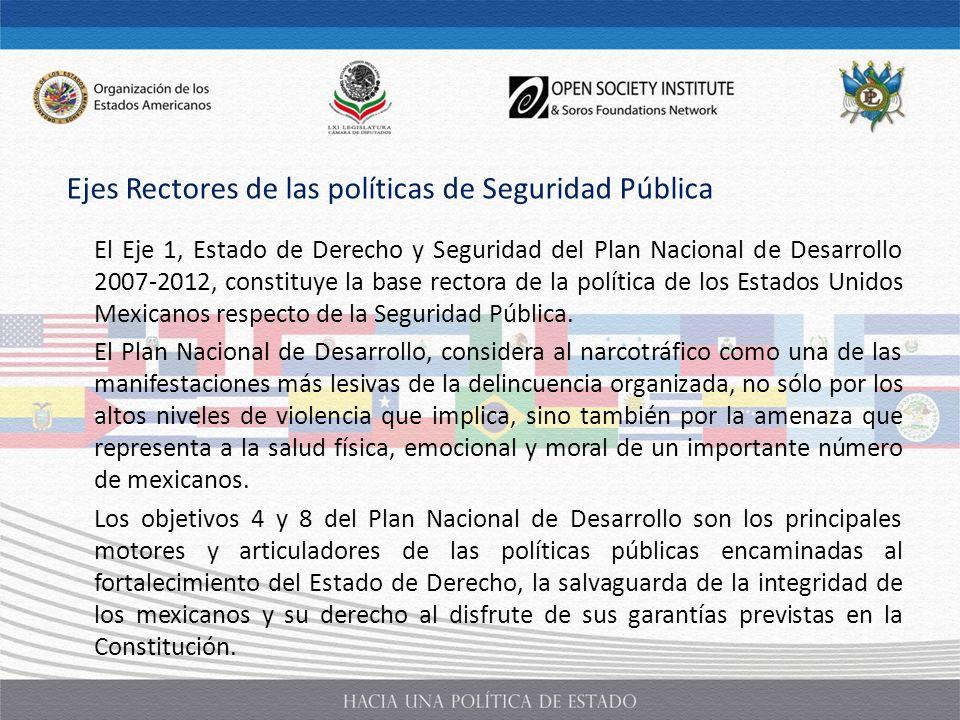 El Eje 1, Estado de Derecho y Seguridad del Plan Nacional de Desarrollo 2007-2012, constituye la base rectora de la política de los Estados Unidos Mex