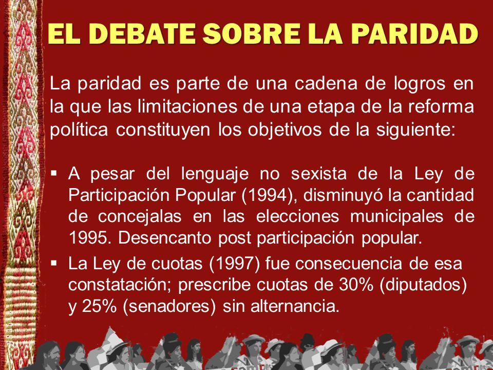 EL DEBATE SOBRE LA PARIDAD La paridad es parte de una cadena de logros en la que las limitaciones de una etapa de la reforma política constituyen los
