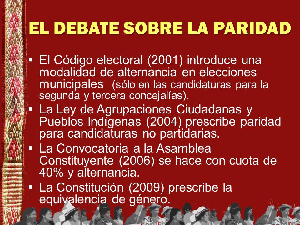 EL DEBATE SOBRE LA PARIDAD El Código electoral (2001) introduce una modalidad de alternancia en elecciones municipales (sólo en las candidaturas para