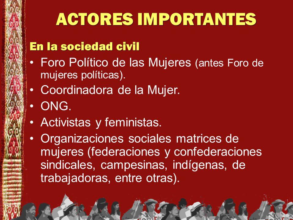ACTORES IMPORTANTES En la sociedad civil Foro Político de las Mujeres (antes Foro de mujeres políticas). Coordinadora de la Mujer. ONG. Activistas y f