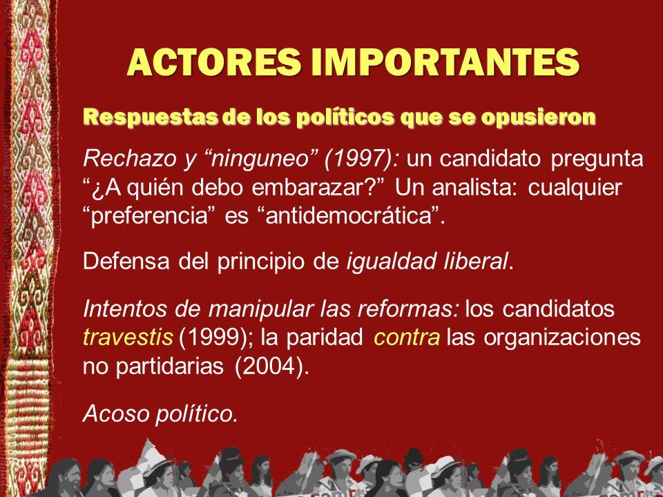 ACTORES IMPORTANTES Respuestas de los políticos que se opusieron Rechazo y ninguneo (1997): un candidato pregunta ¿A quién debo embarazar? Un analista