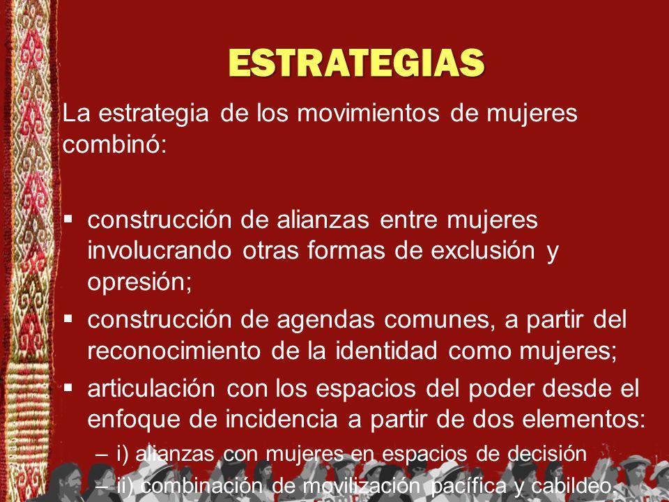 ESTRATEGIAS La estrategia de los movimientos de mujeres combinó: construcción de alianzas entre mujeres involucrando otras formas de exclusión y opres