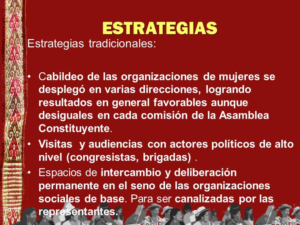 ESTRATEGIAS Estrategias tradicionales: Cabildeo de las organizaciones de mujeres se desplegó en varias direcciones, logrando resultados en general fav