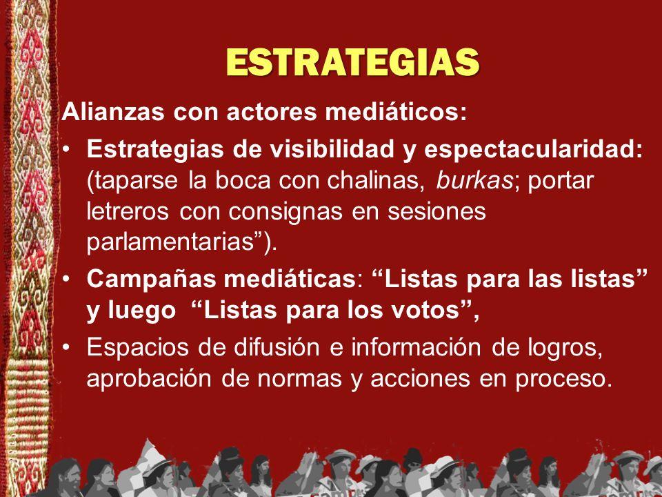 ESTRATEGIAS Alianzas con actores mediáticos: Estrategias de visibilidad y espectacularidad: (taparse la boca con chalinas, burkas; portar letreros con
