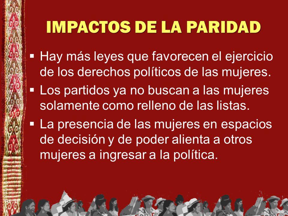 IMPACTOS DE LA PARIDAD Hay más leyes que favorecen el ejercicio de los derechos políticos de las mujeres. Los partidos ya no buscan a las mujeres sola