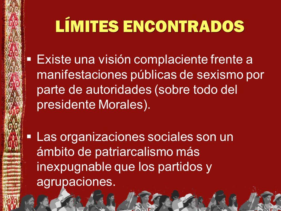 LÍMITES ENCONTRADOS Existe una visión complaciente frente a manifestaciones públicas de sexismo por parte de autoridades (sobre todo del presidente Mo