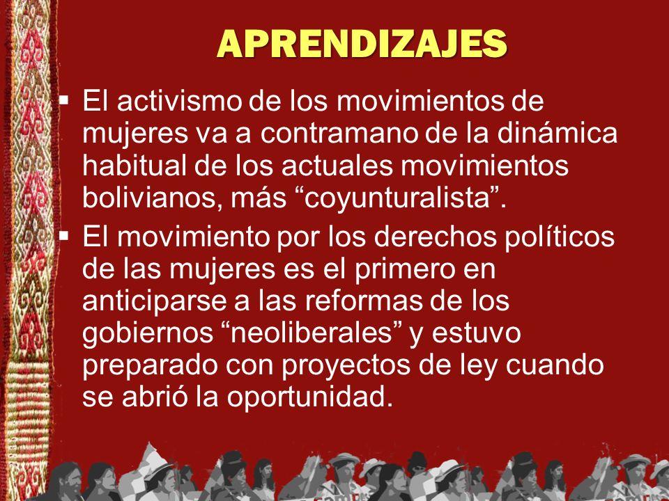 APRENDIZAJES El activismo de los movimientos de mujeres va a contramano de la dinámica habitual de los actuales movimientos bolivianos, más coyuntural