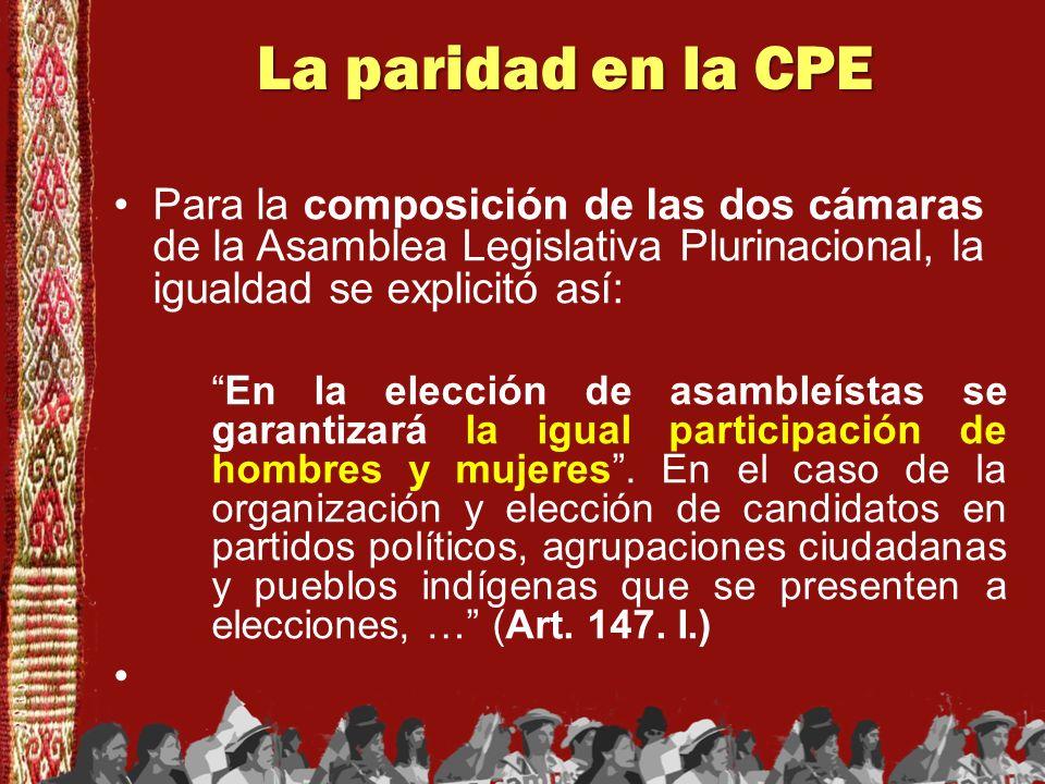 La paridad en la CPE Para la composición de las dos cámaras de la Asamblea Legislativa Plurinacional, la igualdad se explicitó así: En la elección de
