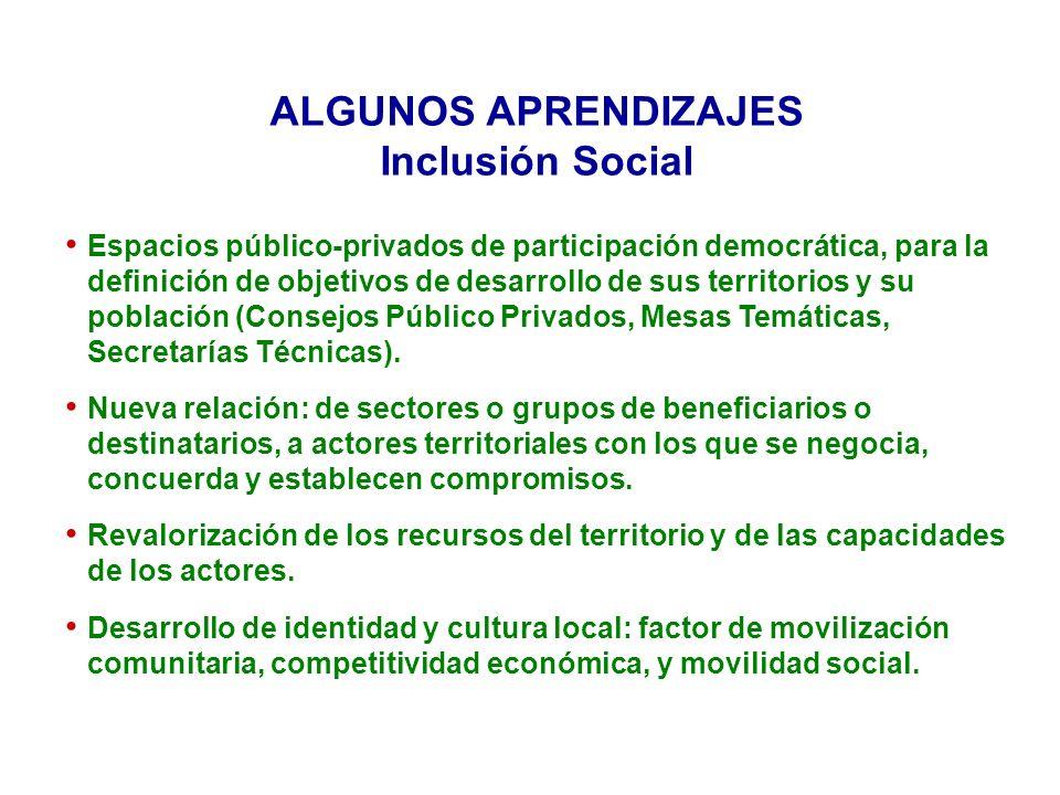 ALGUNOS APRENDIZAJES Inclusión Social Espacios público-privados de participación democrática, para la definición de objetivos de desarrollo de sus territorios y su población (Consejos Público Privados, Mesas Temáticas, Secretarías Técnicas).