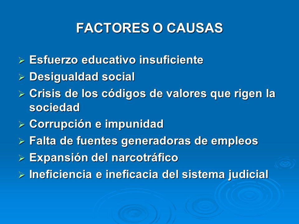 FACTORES O CAUSAS Esfuerzo educativo insuficiente Esfuerzo educativo insuficiente Desigualdad social Desigualdad social Crisis de los códigos de valor
