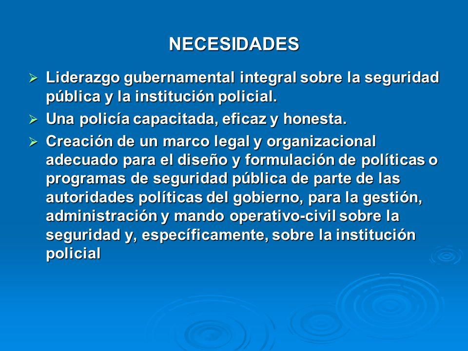 NECESIDADES Liderazgo gubernamental integral sobre la seguridad pública y la institución policial. Liderazgo gubernamental integral sobre la seguridad
