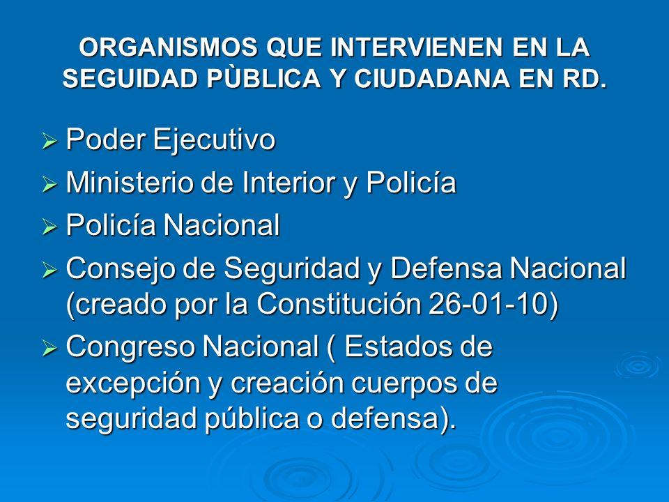 ORGANISMOS QUE INTERVIENEN EN LA SEGUIDAD PÙBLICA Y CIUDADANA EN RD. Poder Ejecutivo Poder Ejecutivo Ministerio de Interior y Policía Ministerio de In
