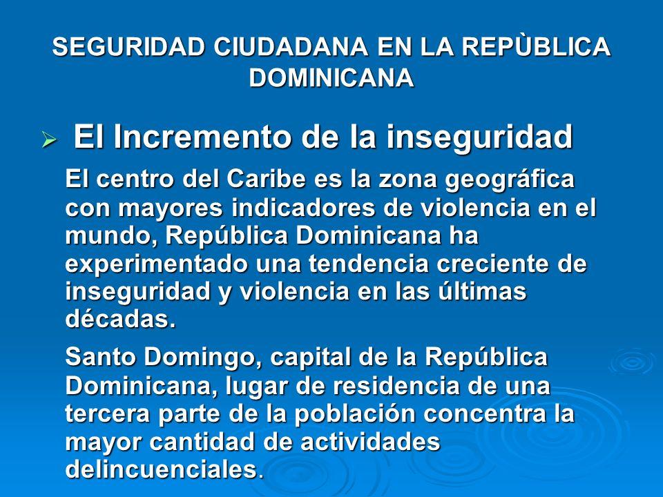 SEGURIDAD CIUDADANA EN LA REPÙBLICA DOMINICANA El Incremento de la inseguridad El Incremento de la inseguridad El centro del Caribe es la zona geográf