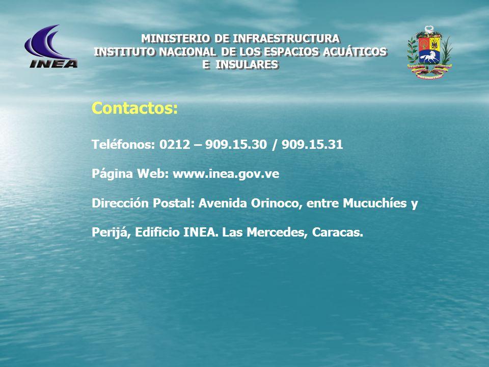 MINISTERIO DE INFRAESTRUCTURA INSTITUTO NACIONAL DE LOS ESPACIOS ACUÁTICOS E INSULARES Contactos: Teléfonos: 0212 – 909.15.30 / 909.15.31 Página Web: